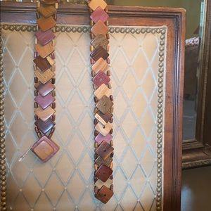 Brown multi tone geometrical belt